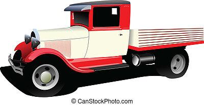 truck., vector, pasado de moda, rareza