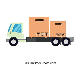 truck vehicle with carton boxes