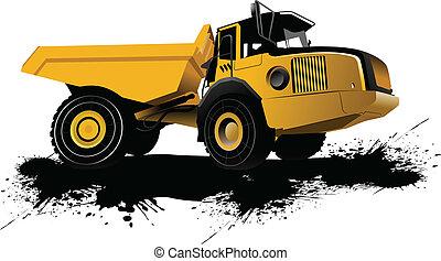 truck., vektor, bllust, isoleret, dumpe