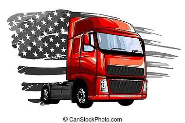 truck., vektor, halv-, tecknad film, illustration, design, konst