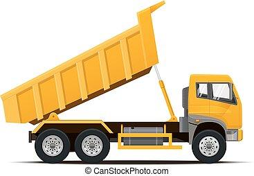 truck., vektor, tippvagn, illustration.