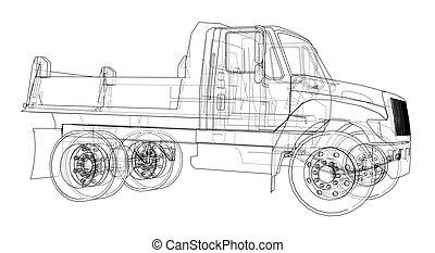 truck., vetorial, entulho