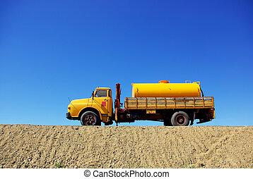 truck., viejo, amarillo