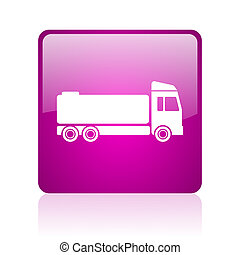 truck violet square web glossy icon