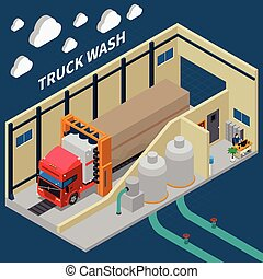 Truck Wash Isometric Composition - Isometric composition...