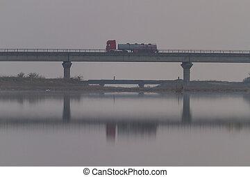 truck went over the bridge