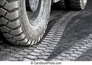 truck wheel - close up of truck wheel and tire print on...