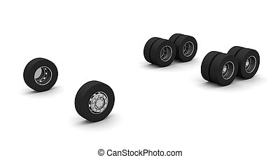 Truck wheels - New Truck wheels isolated on the white...