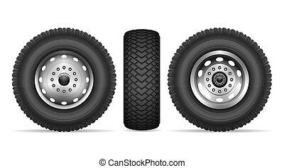 Truck wheels vector set