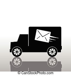truck with a letter envelope vector
