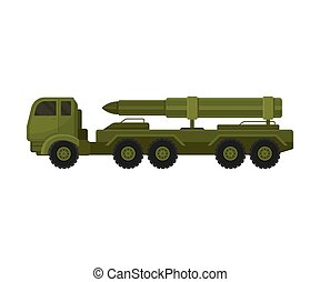 Truck with a rocket on the platform. Vector illustration on a white background.