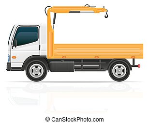 truck with a small crane for construction vector illustration