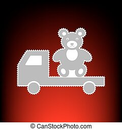 Truck with bear. Postage stamp or old photo style on red-black gradient background.