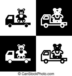 Truck with bear. Vector. Black and white icons and line icon on chess board.