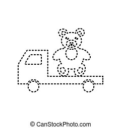 Truck with bear. Vector. Black dashed icon on white background. Isolated.