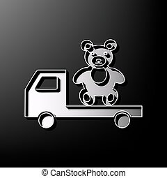 Truck with bear. Vector. Gray 3d printed icon on black background.