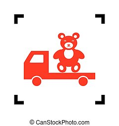 Truck with bear. Vector. Red icon inside black focus corners on white background. Isolated.