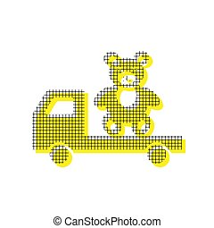 Truck with bear. Vector. Yellow icon with square pattern duplica