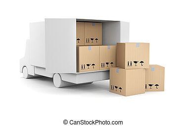Truck with boxes - Delivery metaphor. Isolated on white