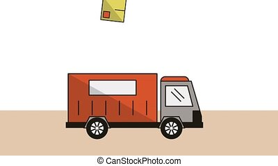 truck with boxes delivery service animation