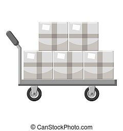 Truck with boxes icon, gray monochrome style