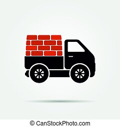 Truck with bricks icon