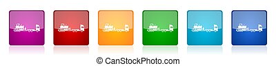Truck with bulldozer on tow trailer icon set, long vehicle colorful square glossy vector illustrations in 6 options for web design and mobile applications