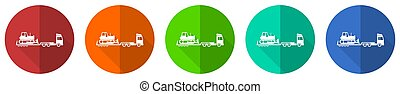 Truck with bulldozer on tow trailer, long vehicle icon set, red, blue, green and orange flat design web buttons isolated on white background, vector illustration