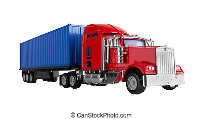 Truck with cargo container isolated on white background....