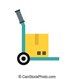 Truck with cargo icon, flat style