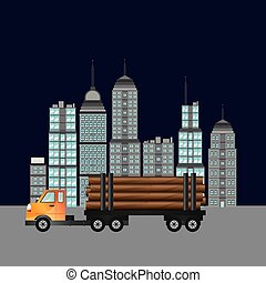 truck with city backbround image