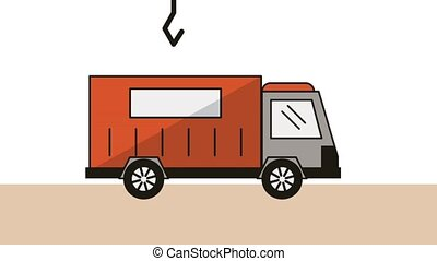 truck with container delivery service animation