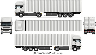 Truck with container vector mockup