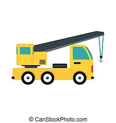 Truck with crane icon, flat style