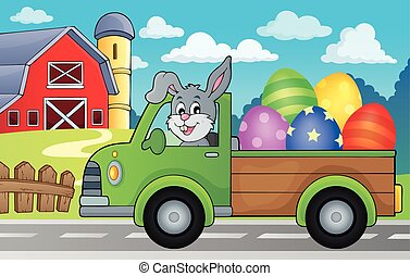Truck with Easter eggs theme