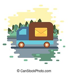 truck with envelope postal service