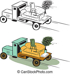 Truck with furniture, concept of moving. Colour image and ...