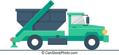 Truck with garbage container - Garbage truck, waste...