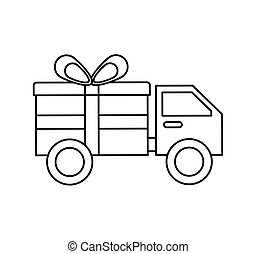 truck with gift isolated icon