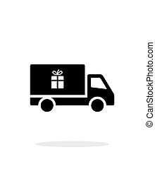 Truck with gift simple icon on white background.