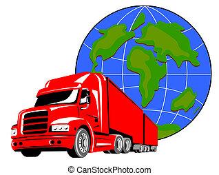 Truck with globe - Illustration on trucking