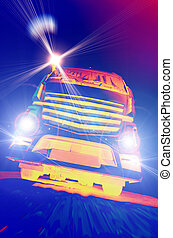 Truck with headlights - Front view of truck in move with...