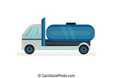 Truck with large blue water tank. Heavy machine with container for liquids. Urban transport. Flat vector icon