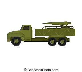 Truck with military missiles. Vector illustration on a white background.