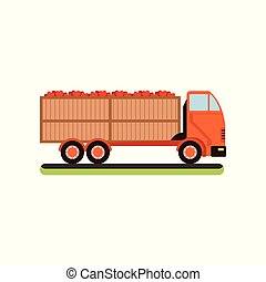 Truck with red apples vector Illustration on a white background
