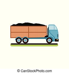 Truck with ripe olives vector Illustration on a white background