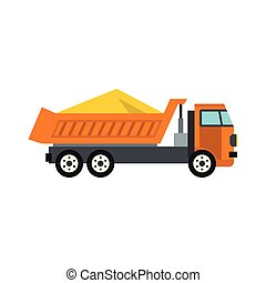 Truck with sand icon, flat style