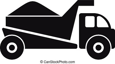 Truck with sand icon, simple style