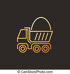 Truck with Sand vector modern colorful linear icon or sign