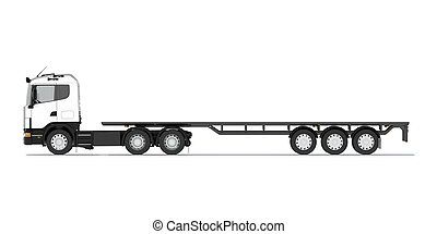 Truck with semitrailer platform. Front view. Isolated render...